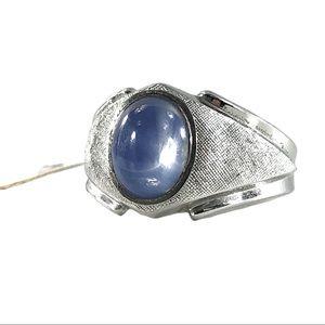 Vtg Sterling ESPO Blue Glass SIMULATED Star Ring 9